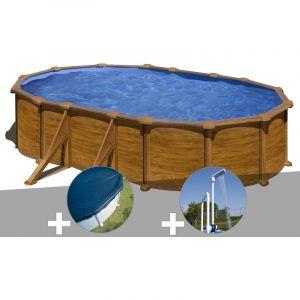 Gre Kit piscine acier aspect bois Mauritius ovale 5,27 x 3,27 x 1,32 m + Bâche hiver + Douche
