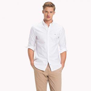 Tommy Hilfiger Core Stretch Slim Oxford Shirt Chemise Casual, Blanc (Bright White 100), Medium Homme
