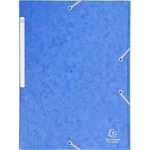 Exacompta 17105H - Chemise à élastique 3 rabats Carte lustrée, grande capacité, coloris bleu