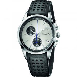 Calvin Klein Homme Chronographe Quartz Montre avec Bracelet en Cuir K5A371C6