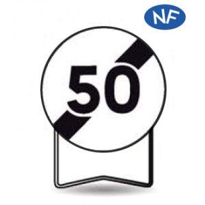 Taliaplast 524422 - Panneau signalisation prescription b33 fin d'interdiction 50km/h t1 650mm