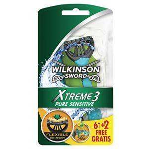 Wilkinson Xtreme 3 Pure Sensitive - Rasoirs jetables masculins - Pack de 8