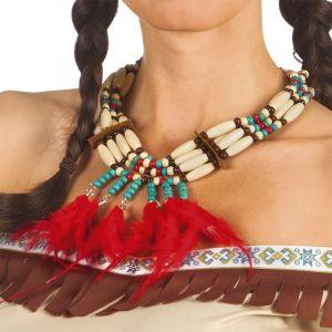 Collier Indien Avec Plumettes Rouges Femme,