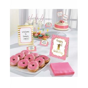 Amscan Kit de décoration Buffet 1st Birthday 12 pièces Rose