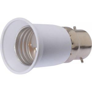 Dhome Adaptateur de douille pour ampoule - Culot B22 vers E27 - Blister - Blanc