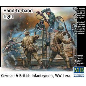 Master Box Hand To Lutte Main, Allemande Et Britannique Fantassins D