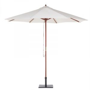 Beliani Parasol en bois toile beige clair sans lambrequin TOSCANA
