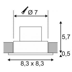 SLV Spot LED encastrable LED intégrée Patta-F 114450 blanc chaud 12 W noir (mat)