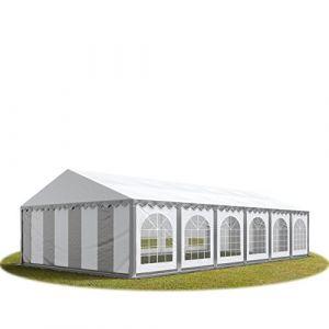 Intent24 TOOLPORT Tente Barnum de Réception 6x12 m PREMIUM Bâches Amovibles PVC 500 g/m² gris-blanc + Cadre de Sol Jardin.FR
