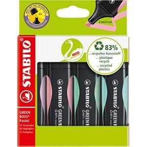 Stabilo Surligneur GREEN BOSS Pastel, étui carton de 4 - Lot de 3