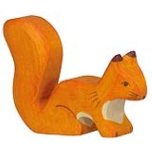 Holztiger Figurine Écureuil debout orange en bois
