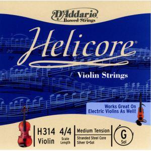 D'Addario Bowed Corde seule (Sol) pour violon Helicore, manche 4/4, tension Medium