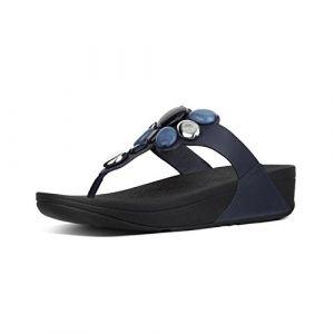 FitFlop Honeybee TM Jewelled Toe Thong Sandals, Tongs Femme, Bleu (Midnight Navy 399), 40 EU