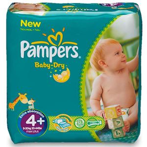Pampers Baby Dry taille 4+ Maxi+ (9-20 kg) - Pack économique x 152 couches