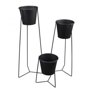 Set de 3 pots sur pied en métal Graphic Ethnic - Ø16xH24cm%u2026 5CAP710NR