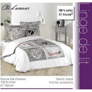 La Maison d'Amélie Clé d'Amour - Parure de couette 100% coton 57 fils (220 x 240 cm)