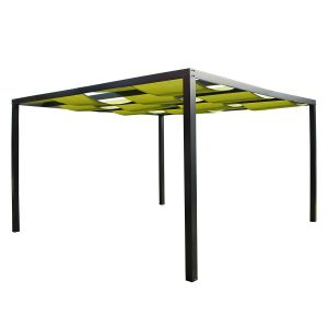 Leco Tonnelle pergola Loft textilène et aluminium - Vert herbe