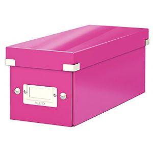 Leitz 6041-00-23 - Boîte de rangement Click & Store, format CD, en PP, coloris rose métallique