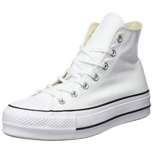 Converse Chuck Taylor CTAS Lift Hi, Sneakers Basses Femme, Blanc Black/White 102, 39 EU