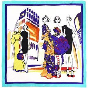 Image de Allée du foulard Carré de soie Premium Modeuses Bleu