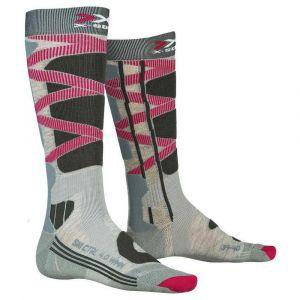 X-Socks Chaussettes Ski Control 4.0 Lady Femme, Gris/Rose, FR : L (Taille Fabricant : L(41-42))