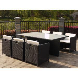 Table de jardin Michigan en résine tressée avec 6 fauteuils