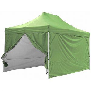 Greaden Tente pliante verte avec 4 murs amovible 3x4,5m PREMIUM LIGHT - Tube