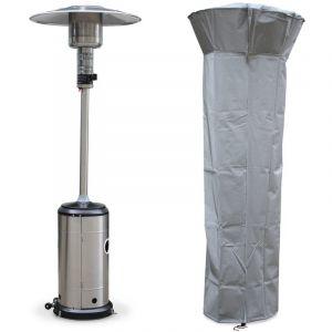 Alice's Garden Chauffage d'extérieur à gaz, parasol chauffant de terrasse FINLAND 12,5kW en Inox avec roulettes et housse