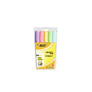 Bic Surligneur Highlighter Grip pastel - pochette de 5 couleurs assorties - paquet 5 unités