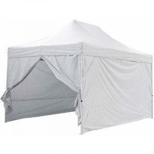 Greaden Tente pliante blanche avec 4 murs amovible 3x4,5m PREMIUM LIGHT Tube 32mm en acier Bâche 420D étanche Barnum pliante + Sac de transport