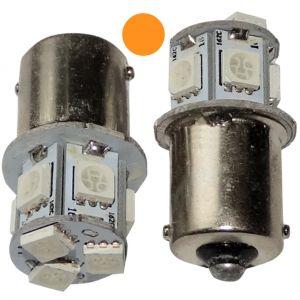Aerzetix 2x ampoule P21W R5W R10W 12V 8LED SMD ambré base 1156