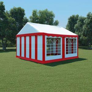 VidaXL Chapiteau de jardin PVC 4 x 4 m Rouge et blanc