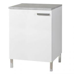 donatella 8 meuble bas 60 cm avec 1 porte pour cuisine blanc