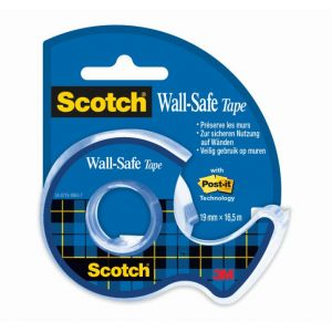 Scotch 183-EFDG - Ruban adhésif Wall Safe, transparent, 19mm x 16,5m, en dérouleur (BP1018)