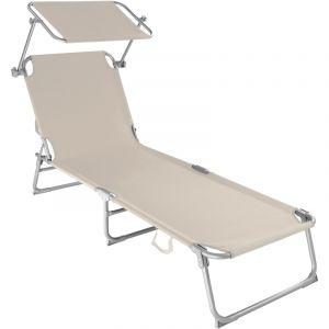 TecTake Chaise longue de jardin, Transat, Bain de soleil, Pare Soleil, Multi positions, Pliable 190 cm Beige