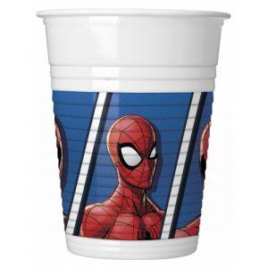 8 Gobelets en plastique Spider-man 200 ml