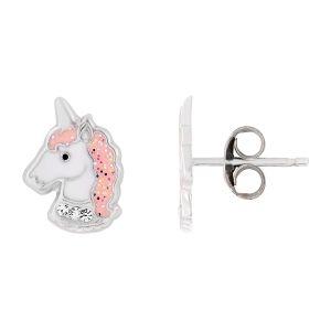 Cleor Boucles oreilles Puces en Argent 925/1000 et Cristal Blanc Enfant multicolor - Taille Unique