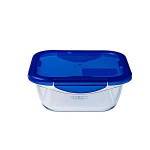 Pyrex COOK & GO 8019917 Boîte carrée de cuisson/conservation avec Couvercle/Etanche/4 Rabats Verre Transparent 16 x 16 x 6 cm 0,8 L