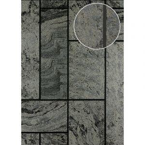 Atlas Papier peint aspect pierre carrelage 24C-1605-5 papier peint intissé texturé à l'aspect de pierre et des accents métalliques anthracite noir gris argent 7,035 m2