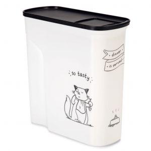 Image de Curver Conteneur de nourriture Le Diner est servi - 2,5 kg - 6 L - Blanc et noir - Pour chat