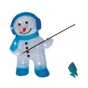 Bonhomme de neige pêcheur lumineux 16 LED