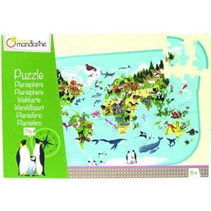 Avenue mandarine PU014C - Puzzle Planisphère avec Poster Servant de Guide