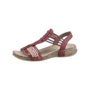 Rieker 61172 Femme Sandale à lanières,Sandales à lanières,Chaussures d'été,Confortable,Plat,medoc/beige-multi/36,36 EU / 3.5 UK