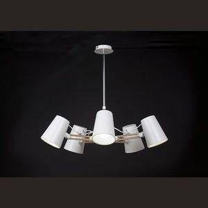 Mantra Suspension Looker Blanc, Bois foncé, 5 lumières