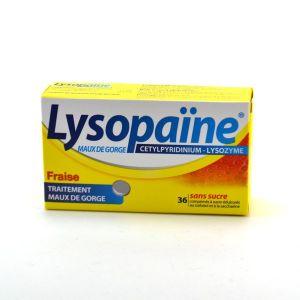 Boehringer Ingelheim Lysopaïne Fraise sans sucre - Maux De Gorges - 36 Comprimés à sucer
