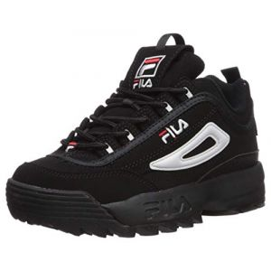 FILA Youth Disruptor II Synthetic Black White Red Formateurs 36 EU