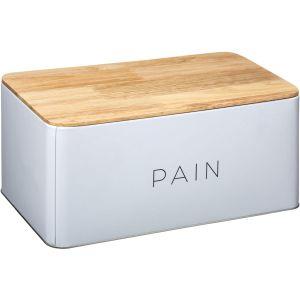 """Boîte à Pain en Métal & Bois """"Baltik"""" 31cm Blanc"""