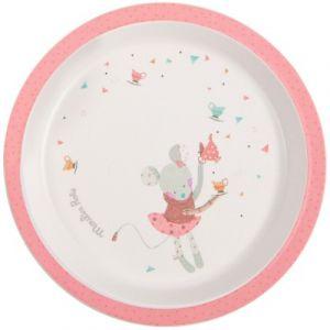 Moulin roty Assiette plate rose Les jolis trop beaux