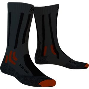 X-Bionic X-Socks Trek Dual Chaussettes Homme, granite grey/bonfire orange EU 45-47 Chaussettes trekking & randonnée