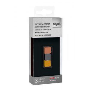 Sigel GL724 - Lot de 3 plots magnétiques Superdym C5 Strong, 1x1x1 cm, titane/cuivre/or